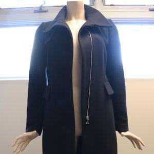 Zara Woman Zipper Buckle Long Black Peacoat (M)